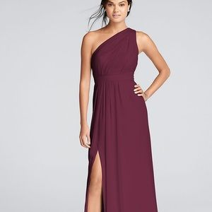 David's bridal one shoulder wine long dress